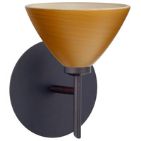 Besa Lighting 1SW-1743OK-BR Domi 1 Light 5 inch Bronze Mini Sconce Wall Light in Halogen Oak Glass