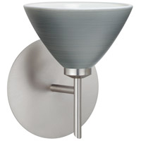 Besa Lighting 1SW-1743TN-LED-SN Domi LED 5 inch Satin Nickel Mini Sconce Wall Light in Titan Glass