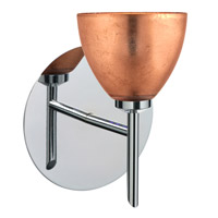 Divi LED 5 inch Chrome Mini Sconce Wall Light in Copper Foil Glass