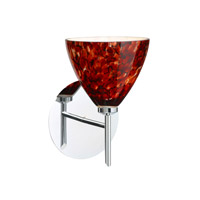 Besa Lighting 1SW-177941-LED-CR Mia LED 5 inch Chrome Mini Sconce Wall Light in Garnet Glass
