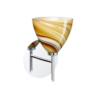Mia LED 5 inch Chrome Mini Sconce Wall Light in Honey Glass