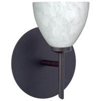 Besa Lighting 1SW-185819-BR Divi 1 Light 5 inch Bronze Mini Sconce Wall Light in Halogen Carrera Glass