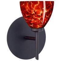 Besa Lighting 1SW-185841-LED-BR Divi LED 5 inch Bronze Mini Sconce Wall Light in Garnet Glass