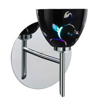 Besa Lighting 1SW-1858VB-CR Divi 1 Light 5 inch Chrome Mini Sconce Wall Light in Halogen Black Dicro Vine Glass