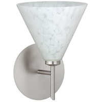 Besa Lighting 1SW-512119-LED-SN Kani LED 6 inch Satin Nickel Mini Sconce Wall Light in Carrera Glass