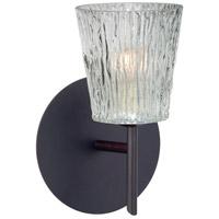 Besa Lighting 1SW-512500-BR Nico 4 1 Light 5 inch Bronze Mini Sconce Wall Light in Halogen Clear Stone Glass