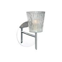 Besa Lighting 1SW-512500-CR Nico 4 1 Light 5 inch Chrome Mini Sconce Wall Light in Halogen Clear Stone Glass