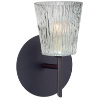 Besa Lighting 1SW-512500-LED-BR Nico 4 LED 5 inch Bronze Mini Sconce Wall Light in Clear Stone Glass