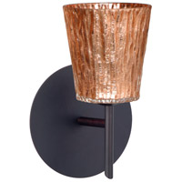 Besa Lighting 1SW-5125CF-BR Nico 4 1 Light 5 inch Bronze Mini Sconce Wall Light in Halogen Stone Copper Foil Glass