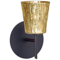 Besa Lighting 1SW-5125GF-BR Nico 4 1 Light 5 inch Bronze Mini Sconce Wall Light in Halogen Stone Gold Foil Glass