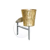 Besa Lighting 1SW-5125GF-CR Nico 4 1 Light 5 inch Chrome Mini Sconce Wall Light in Halogen Stone Gold Foil Glass