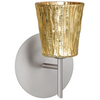 Besa Lighting 1SW-5125GF-LED-SN Nico 4 LED 5 inch Satin Nickel Mini Sconce Wall Light in Stone Gold Foil Glass