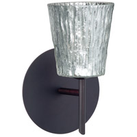 Besa Lighting 1SW-5125SF-BR Nico 4 1 Light 5 inch Bronze Mini Sconce Wall Light in Halogen Stone Silver Foil Glass