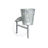 Besa Lighting 1SW-5125SF-CR Nico 4 1 Light 5 inch Chrome Mini Sconce Wall Light in Halogen Stone Silver Foil Glass