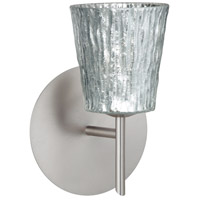 Besa Lighting 1SW-5125SF-LED-SN Nico 4 LED 5 inch Satin Nickel Mini Sconce Wall Light in Stone Silver Foil Glass