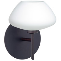 Besa Lighting 1SW-541007-BR Peri 1 Light 5 inch Bronze Mini Sconce Wall Light in Halogen Opal Matte Glass