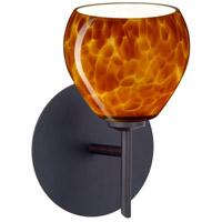 Besa Lighting 1SW-560518-BR Tay Tay 1 Light 5 inch Bronze Mini Sconce Wall Light in Halogen Amber Cloud Glass