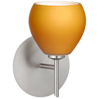 Besa Lighting 1SW-560580-LED-SN Tay Tay LED 5 inch Satin Nickel Mini Sconce Wall Light in Amber Matte Glass