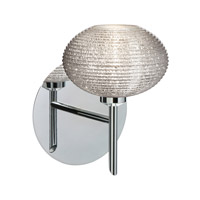 Besa Lighting 1SW-5612GL-CR Lasso 1 Light 5 inch Chrome Mini Sconce Wall Light in Halogen Glitter Glass