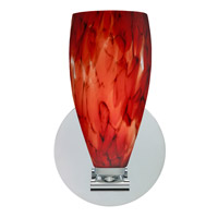 Karli LED 5 inch Polished Nickel Wall Sconce Wall Light in Garnet Glass