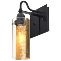 Duke 1 Light 6 inch Black Wall Sconce Wall Light in Gold Foil Glass