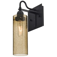 Juni 10 1 Light 6 inch Black Wall Sconce Wall Light in Latte Bubble Glass