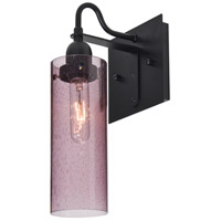 Juni 10 1 Light 6 inch Black Wall Sconce Wall Light in Plum Bubble Glass