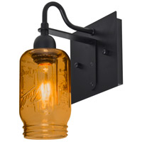 Milo 4 1 Light 6 inch Black Wall Sconce Wall Light in Transparent Amber Glass