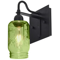 Milo 4 1 Light 6 inch Black Wall Sconce Wall Light in Transparent Green Glass
