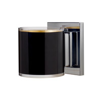 Besa Pogo 1 Light Mini Sconce in Chrome with Black/Inner Gold Glass 1WS-7180GF-CR