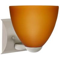 Besa Lighting 1WZ-757280-LED-SN Sasha Ii LED 6 inch Satin Nickel Mini Sconce Wall Light in Amber Matte Glass