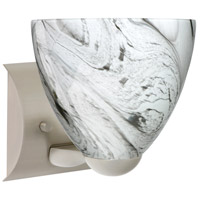 Besa Lighting 1WZ-7572MG-LED-SN Sasha Ii LED 6 inch Satin Nickel Mini Sconce Wall Light in Marble Grigio Glass