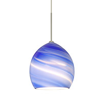 Besa Lighting 1XT-1716BL-SN Sprite 1 Light Satin Nickel Pendant Ceiling Light in Blue Twist Glass Halogen