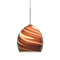 Sprite LED Satin Nickel Pendant Ceiling Light in Smoke Twist Glass