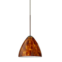 Mia LED Bronze Pendant Ceiling Light in Amber Cloud Glass