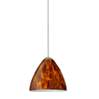 Mia LED Satin Nickel Pendant Ceiling Light in Amber Cloud Glass