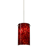 Besa Lighting Stilo 1 Light Satin Nickel Pendant Ceiling Light in Garnet Glass Halogen