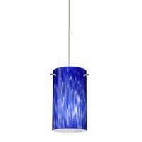 Besa Lighting Stilo 1 Light Satin Nickel Pendant Ceiling Light in Blue Cloud Glass Halogen