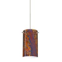 Besa Lighting Stilo 1 Light Satin Nickel Pendant Ceiling Light in Ceylon Glass Halogen
