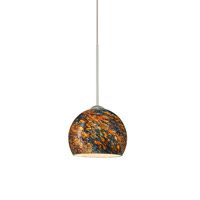 Besa Lighting Palla 1 Light Satin Nickel Pendant Ceiling Light in Ceylon Glass Halogen
