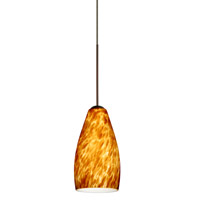 Karli LED Bronze Pendant Ceiling Light in Amber Cloud Glass