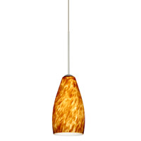 Karli LED Satin Nickel Pendant Ceiling Light in Amber Cloud Glass