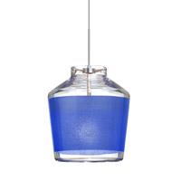 Besa Lighting 1XT-PIC6BL-SN Pica 6 1 Light Satin Nickel Pendant Ceiling Light in Halogen Blue Sand Glass