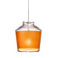 Besa Lighting 1XT-PIC6GD-SN Pica 6 1 Light Satin Nickel Pendant Ceiling Light in Halogen Gold Sand Glass