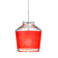 Besa Lighting 1XT-PIC6RD-SN Pica 6 1 Light Satin Nickel Pendant Ceiling Light in Halogen Red Sand Glass