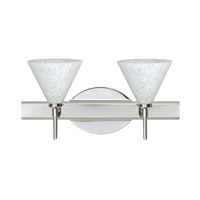 Besa Lighting 2SW-512119-CR Kani 2 Light 15 inch Chrome Vanity Wall Light in Carrera Glass Halogen