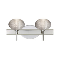 Besa Lighting 2SW-5612GL-CR Lasso 2 Light 15 inch Chrome Vanity Wall Light in Glitter Glass Halogen