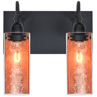 Duke 2 Light 12 inch Black Vanity Wall Light in Copper Foil Glass