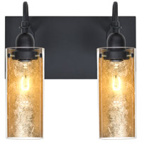 Duke 2 Light 12 inch Black Vanity Wall Light in Gold Foil Glass