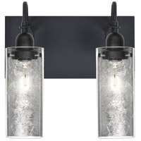Duke 2 Light 12 inch Black Vanity Wall Light in Silver Foil Glass